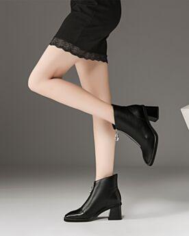 Talons Carrés Bottines Fourrées Talon Mid Chaussures De Bureau Confort Chelsea Noir Cuir