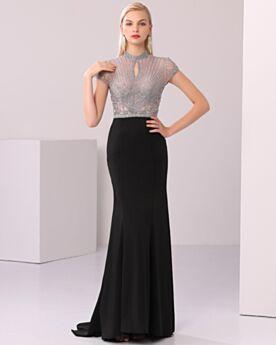 Negros De saten Lentejuelas Largos Vestidos De Gala Cuello Alto Vestidos De Noche Elegantes