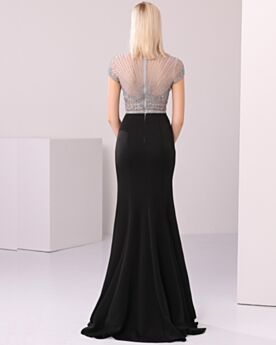Sparkly Elegant Formal Evening Dresses High Neck See Through Celebrity Dress Sequin Long Sheath Black