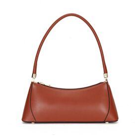 Full Grain Cute Womens Handbag Shoulder Bag Brown Baguette
