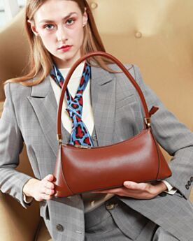 Full Grain Cute Womens Handbag Shoulder Bag Brown Baguette