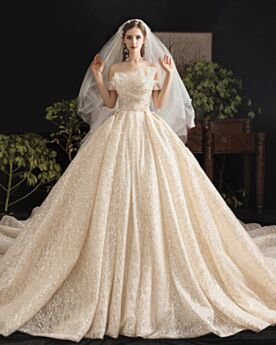 Ball Gowns Wedding Dresses Tulle Sequin Ruffle Off The Shoulder Bow Gorgeous Glitter Backless