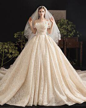 Boule À Volants Scintillante Glitter Robe De Mariée Sequin Epaule Dénudée