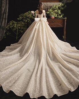 Glitzer Rüschen Off Shoulder Brautkleider Pailletten Rückenfreies Creme Prinzessin Glitzernden Luxus