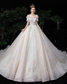 Prinzessin Rüschen Pailletten Off Shoulder Brautkleider Weiß Rückenfreies