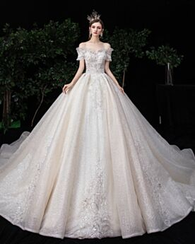 Sparkly Beading Open Back Ruffle White Bridals Wedding Dress Off The Shoulder Gorgeous Sequin Ball Gown