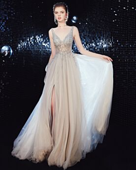 Long Formal Gala Dresses Tulle See Through Split With Train Low Cut Backless Prom Dresses A Line Silver Sexy