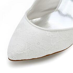 Élégant Blanche 2020 Escarpins Femmes Chaussure Mariée 8 cm Talon Haut Bout Pointu Dentelle