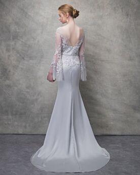 Appliques Long Long Sleeve Summer Lace Sheath Open Back Evening Dress Charming With Train Graduation Dress