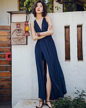 Chiffon Beach Dress Backless Flounce Navy Blue Dresses Long Sundress Sleeveless Plunge