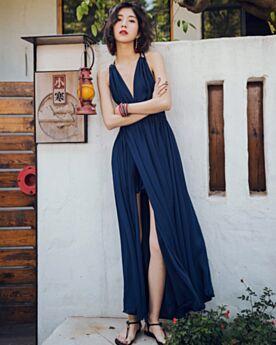 Scollo Profondo Vestiti Donna Impero Sensuali Con Cintura Estivi Con Spacco Blu Scuro
