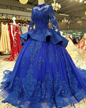 Ball Gown With Train Appliques Elegant Prom Dresses Royal Blue Vintage Lace Winter Peplum Engagement Dress Ruffle