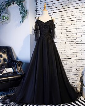 Evening Dresses Prom Dresses A Line Beautiful Backless Long Sleeved Lace Black Ruffle Long Tulle One Shoulder
