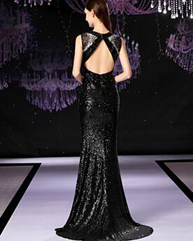 Sequin Noir Élégant Fourreau Robes De Soirée Scintillante Robe Ceremonie Sirène