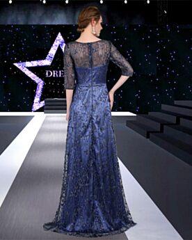 Kanten A Lijn Glitter Galajurk Lange Navy Avondjurken Elegante Sparkle