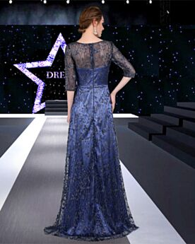 Long Glitter Formal Evening Dress Prom Dresses Navy Blue Sparkly Half Sleeve Princess Charming Lace