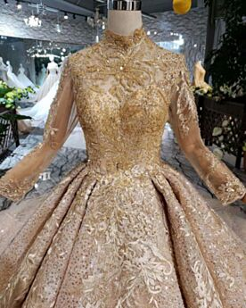 Lange Mouwen Glitter Gouden 2019 Bruidsjurk Hoge Kraag Applique Sparkle Kanten Lange
