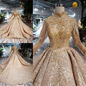 Luxe Glitter Col Haut Robe De Mariée Boule Dentelle Manche Longue Longue Scintillante Dorée