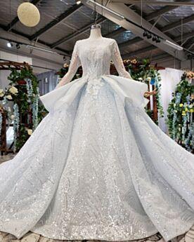 Pizzo Principessa Vestiti Prom Glitter Abiti Da Cerimonia Maniche Lunghe Azzurro Polvere Vestiti Per 18 Anni Luccicante