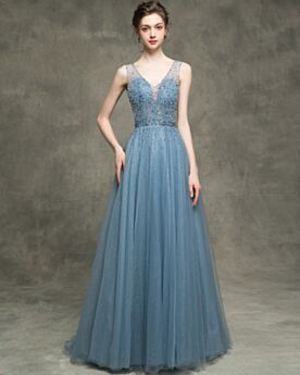 Glitter A Line Sleeveless Prom Dress Evening Dresses Low Cut Beautiful Backless Beading Long Sparkly