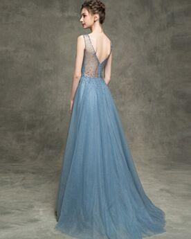 Glitter Longue Perlage Dos Nu Brillante Robe De Soirée Avec La Queue Décolleté Belle Robes De Bal Princesse