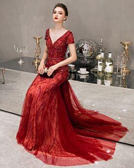 Abendkleid Lange Rot Ärmellos Tiefer Ausschnitt Meerjungfrau Tüll Rückenausschnitt Perlen Spitzen