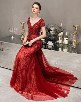 Plunge Sleeveless Long Lace Backless Formal Evening Dress Red