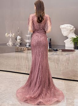 Sequin Sheath Mauve Pink Long Cute Low Cut Lace Short Sleeve Charming Formal Dresses