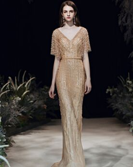 Gold Kurzarm Abendkleid Elegante Pailletten Schöne Tiefer Ausschnitt Spitzen Bleistift