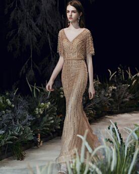 Vestidos De Noche Elegantes Vestidos Para Fiesta Encaje Bonitos Escote V Pronunciado Ajustados De Lentejuelas Largos