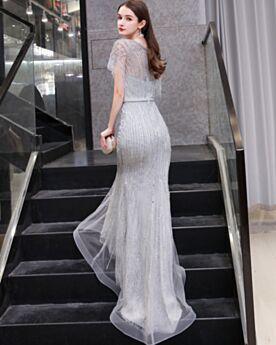 Plateados Escotados Con Cuentas Brillantes De Tul Lentejuelas Con Manga Corta Elegantes Vestidos De Noche Largos