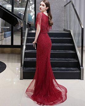 Vestidos De Fiesta Elegantes Escotados Largos Con Cuentas De Tul Color Vino Lujo Brillantes Lentejuelas