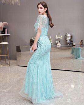 2020 Vestidos De Fiesta Lentejuelas Escotados Brillantes Azul Celeste De Lujo Largos Elegantes Con Manga Corta Cristal