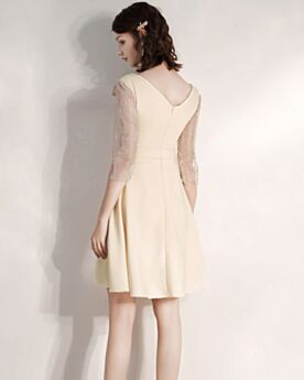 Simple Backless Semi Formal Dresses V Neck Chiffon Champagne Short Juniors Tulle Cute Cocktail Party Dress