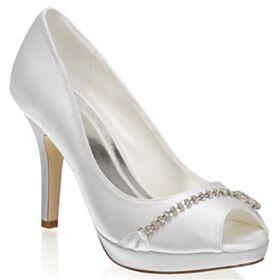 Brautschuhe Satin Elegante Peeptoes Stilettos 10 cm High Heel Pumps
