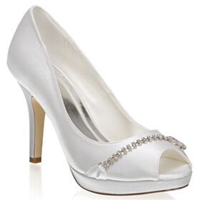 Pumps Shoes 4 inch High Heel Stiletto Peep Toe Wedding Shoes Elegant