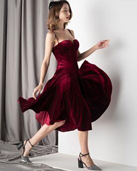 Velvet Tea Length Simple Cocktail Party Dress Slip Open Back Sleeveless Low Cut Vintage
