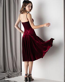 Slip Dress Con Schiena Scoperta Abito Da Cocktail Lungo Al Polpaccio Abiti Da Cerimonia Bordeaux Vintage