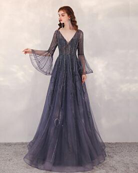 Abendkleid Perlen Lange Tiefer Ausschnitt Ballkleid Pailletten Rückenausschnitt Marineblau Herrlich Lange Ärmel