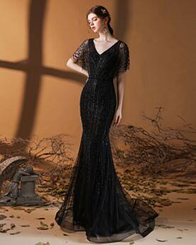 Robe De Soirée Scintillante Luxe Paillette Robes De Bal Manche Courte Noire Robe Bal De Promo Princesse Longue