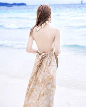 Color Champagne Vestidos Playa Vestidos Estampados Largos Sin Manga Vestido Corte Imperio Halter Sexys Gasa