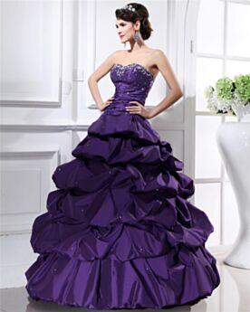 Princesa Largos Sin Hombros Vestidos De Prom Fiesta Vestidos De 15 Años Bordado Tafeta Sin Manga Morado Vintage