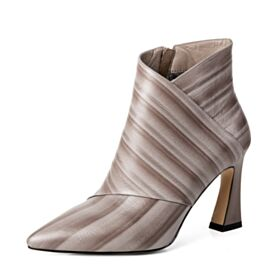 Business Schuhe Stiefel Ombre Beige Mit Absatz Spitz Zeh Stiefeletten High Heels