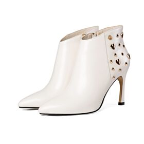 Booties Fur Lined High Heel Boots Leather Work Shoes White Stiletto Heels 3 inch