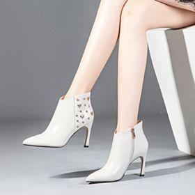 Mit Nieten Business Schuhe Damen Gefütterte Stiefeletten High Heel Chelsea Spitz Zeh Stilettos Weiß Stiefel
