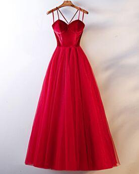 Robe Demoiselle D honneur Dos Nu Robe De Soirée Rouge Simple Bretelles Fines Princesse