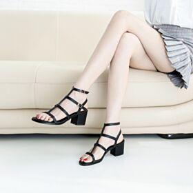 Block Heels Chunky Heel Summer Black Ankle Boots Mid Heel Sandals Modern