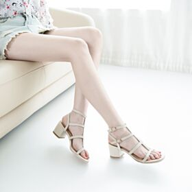 Block Heels Booties Sandals For Women Fashion 5 cm Low Heel Beige 2019