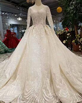Lange Ärmel Creme V Ausschnitt Rückenausschnitt Pailletten Spitzen Prinzessin Lange Glitzernden Brautkleider