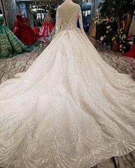 Dentelle Boule Dos Nu Longue Manche Longue Robe De Mariée Sequin Brillante Élégant
